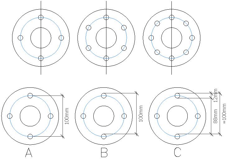 Rozstaw śrub na 4,6 i 8 otworów, wraz z przykładem jak zmierzyć rozstaw śrub